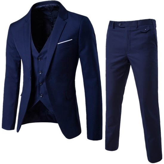 2017 Autumn Business casual Men Suit blazer Three-piece Jacket Vest Pant Groom Groomsman Wedding One Button Suit blazer